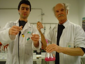 Some dangerous chemistry in the lab with bill Keith April 2005
